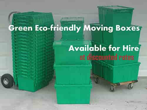 Green eco friendly moving boxes are available for Hire at discounted rates